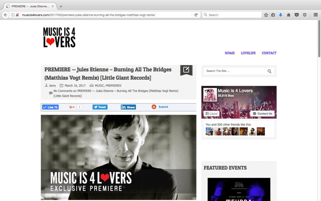 Matthias Vogt featured on Music is 4 Lovers